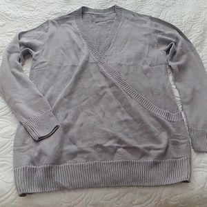 Grey wrap look sweater